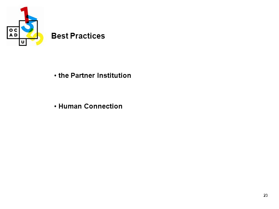 23 Best Practices the Partner Institution Human Connection