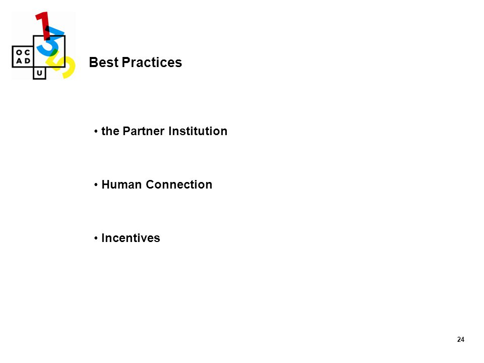 24 Best Practices the Partner Institution Human Connection Incentives