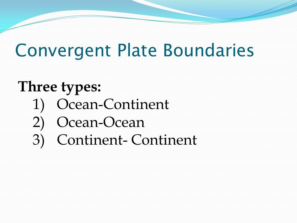 Convergent Plate Boundaries Three types: 1)Ocean-Continent 2)Ocean-Ocean 3)Continent- Continent