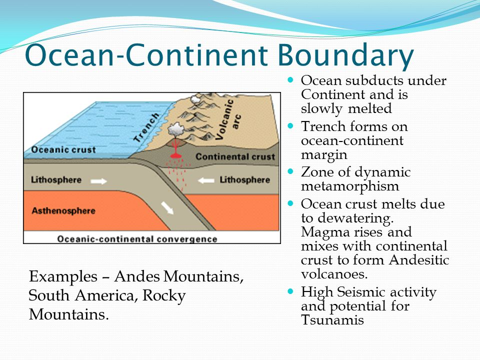 Ocean-Continent Boundary Ocean subducts under Continent and is slowly melted Trench forms on ocean-continent margin Zone of dynamic metamorphism Ocean crust melts due to dewatering.