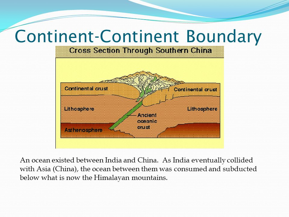 Continent-Continent Boundary An ocean existed between India and China.
