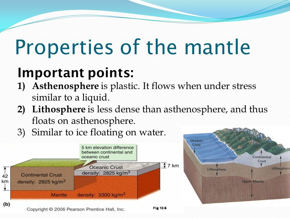 Properties of the mantle Important points: 1) Asthenosphere is plastic.