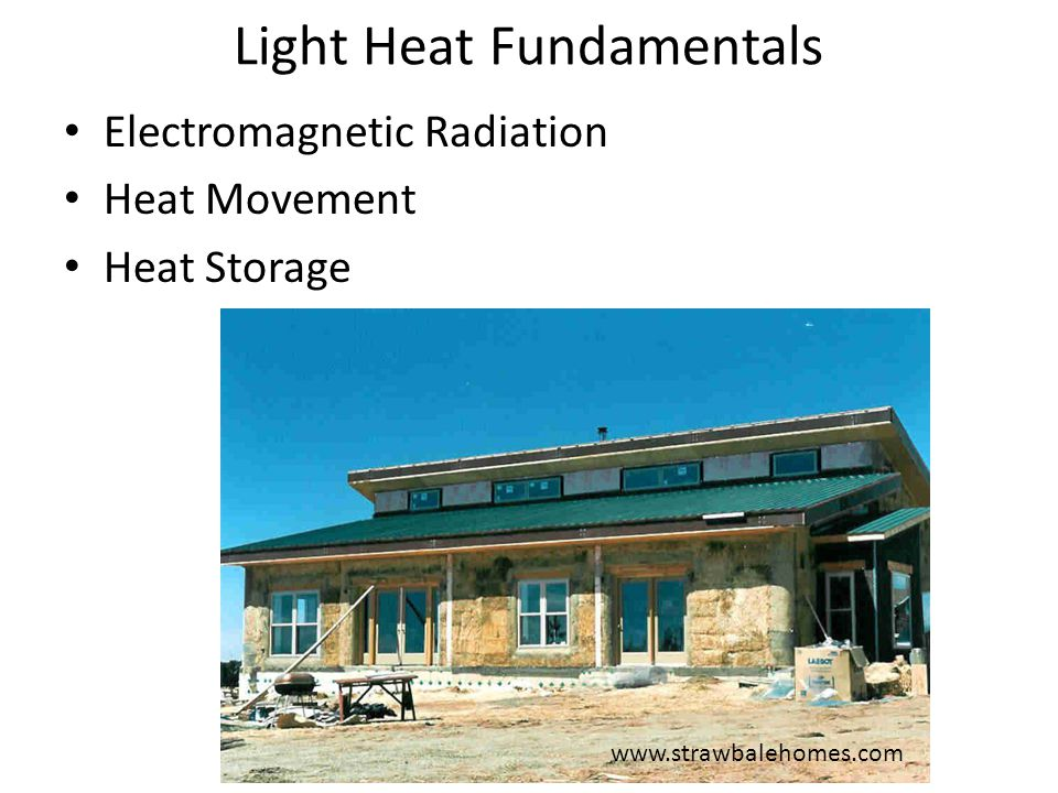 Solar Gain G = SHGF SHGC T S A – G = Heat gain, BTU/d/  F – SHGF = Solar heat gain factor, BTU/ft 2 /d Amount of energy from the sun – ASHRAE Tables for various latitudes, available on web – SHGC = Solar heat gain coefficient, unitless Fraction of sun energy thru window (color, coatings, dividers) – We will assume a value of 0.88 (pretty high) – Can get from window manufacturer – T = Time, d – S = Fraction of sunshine, unitless Fraction of daylight hours without clouds – Available on web Hartford Conn., February: 0.55 – A = Area of glazing, ft 2 Kachadorian, J (2006) The Passive Solar House Chelsea Green Publishing Company, White River Junction, VT.