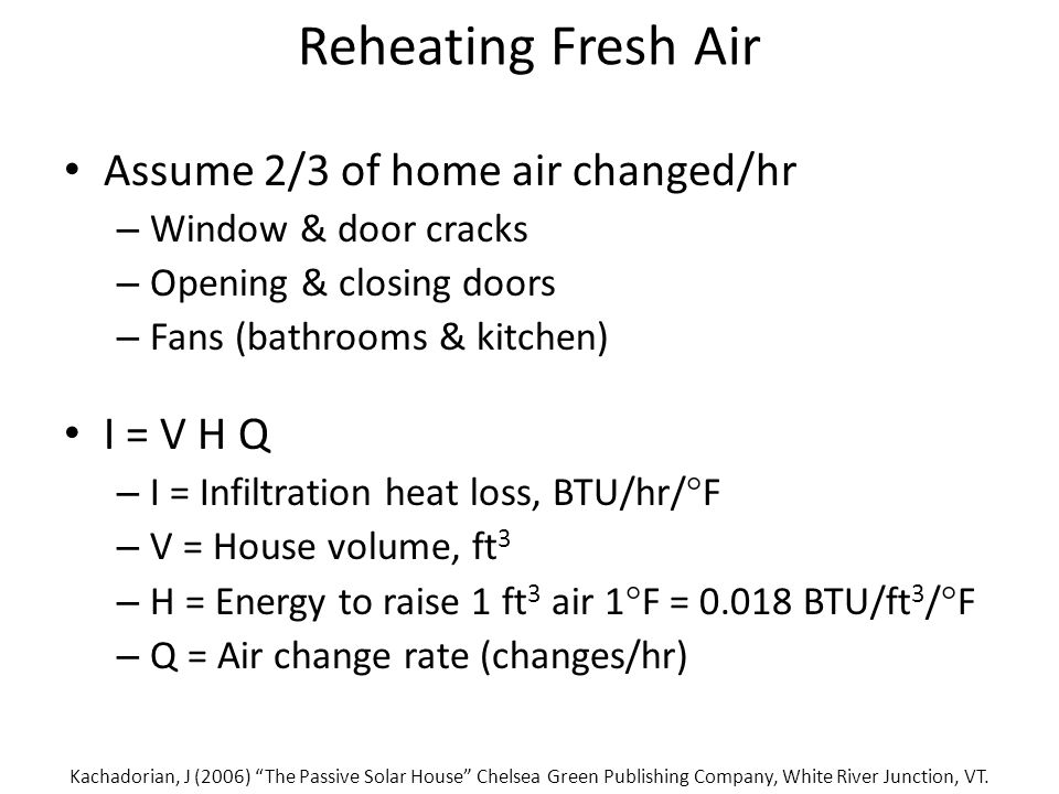 Reheating Fresh Air Assume 2/3 of home air changed/hr – Window & door cracks – Opening & closing doors – Fans (bathrooms & kitchen) I = V H Q – I = Infiltration heat loss, BTU/hr/  F – V = House volume, ft 3 – H = Energy to raise 1 ft 3 air 1  F = 0.018 BTU/ft 3 /  F – Q = Air change rate (changes/hr) Kachadorian, J (2006) The Passive Solar House Chelsea Green Publishing Company, White River Junction, VT.