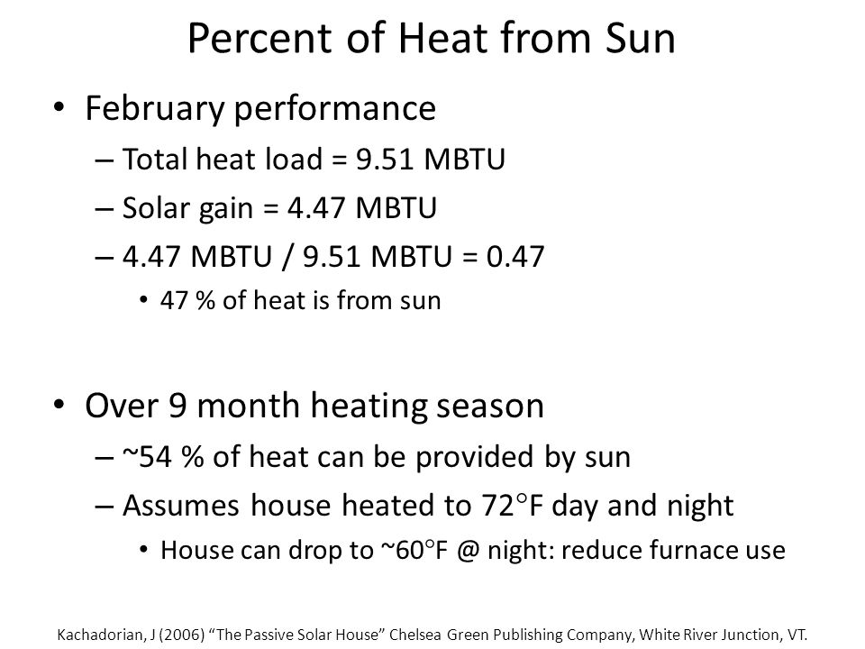 Percent of Heat from Sun February performance – Total heat load = 9.51 MBTU – Solar gain = 4.47 MBTU – 4.47 MBTU / 9.51 MBTU = 0.47 47 % of heat is from sun Over 9 month heating season – ~54 % of heat can be provided by sun – Assumes house heated to 72  F day and night House can drop to ~60  F @ night: reduce furnace use Kachadorian, J (2006) The Passive Solar House Chelsea Green Publishing Company, White River Junction, VT.