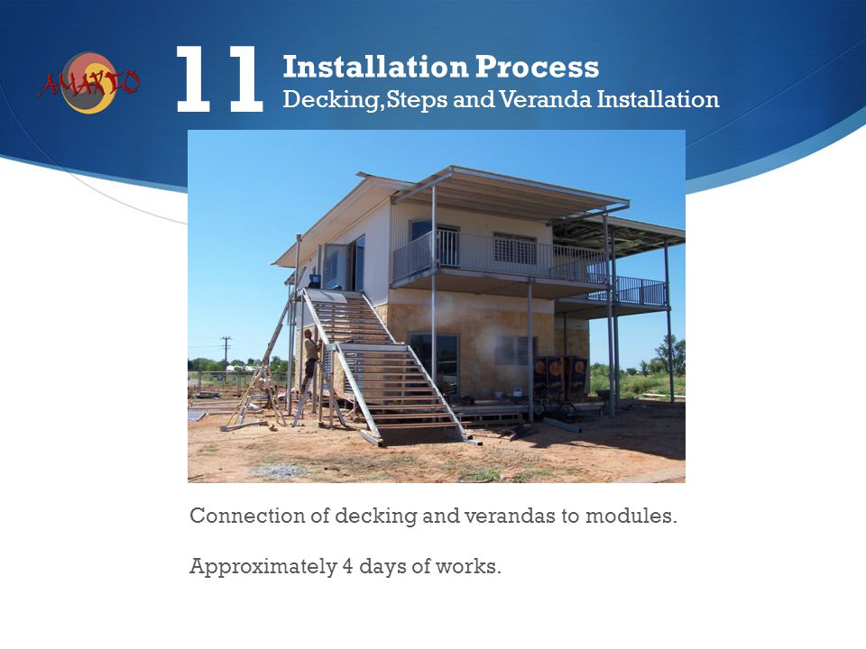 Connection of decking and verandas to modules. Approximately 4 days of works. Installation Process Decking, Steps and Veranda Installation 11