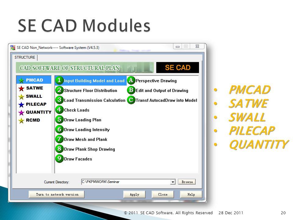 PMCAD PMCAD SATWE SATWE SWALL SWALL PILECAP PILECAP QUANTITY QUANTITY 20 28 Dec 2011 © 2011 SE CAD Software.