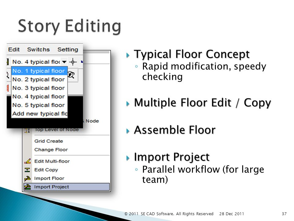  Typical Floor Concept ◦ Rapid modification, speedy checking  Multiple Floor Edit / Copy  Assemble Floor  Import Project ◦ Parallel workflow (for large team) 37 28 Dec 2011 © 2011 SE CAD Software.