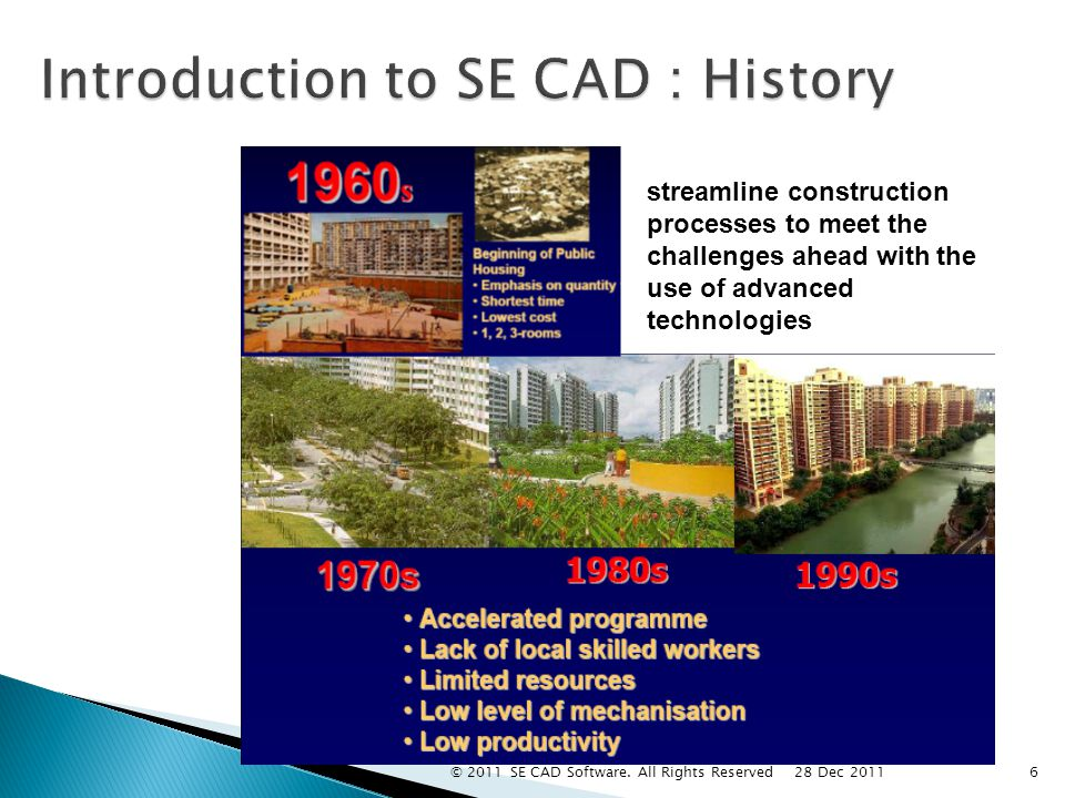 Introduction to SE CAD : History streamline construction processes to meet the challenges ahead with the use of advanced technologies 6 28 Dec 2011 © 2011 SE CAD Software.