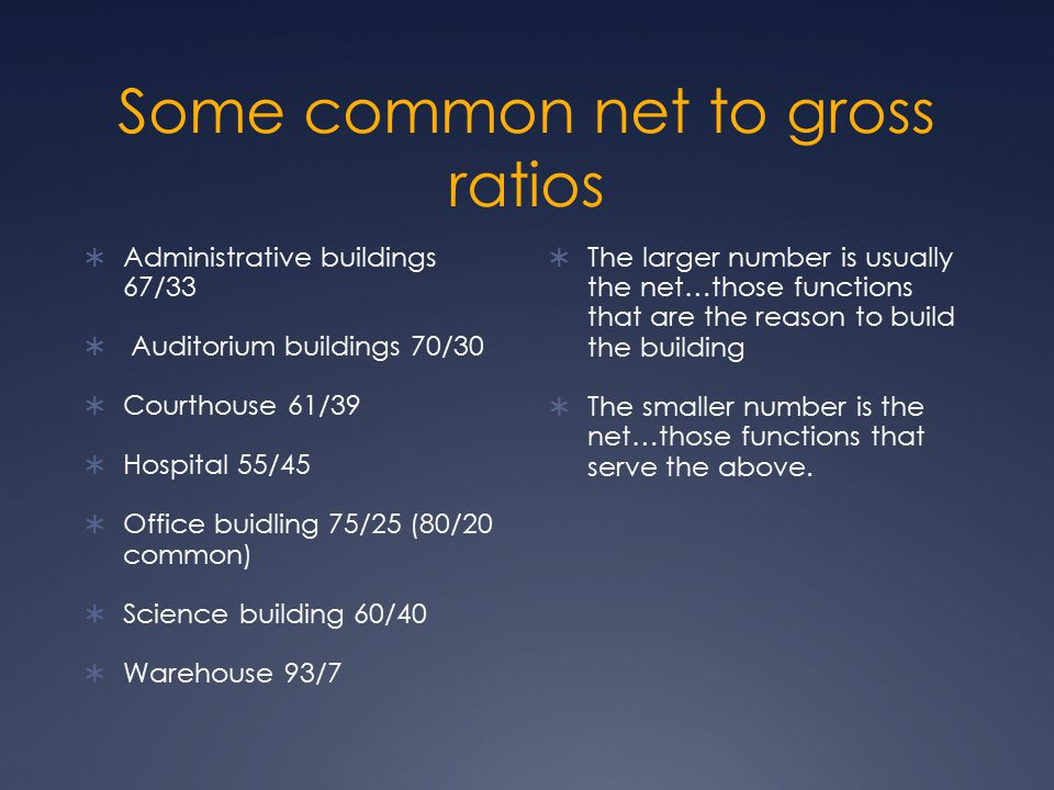 Some common net to gross ratios  Administrative buildings 67/33  Auditorium buildings 70/30  Courthouse 61/39  Hospital 55/45  Office buidling 75