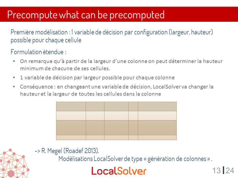 1324 Precompute what can be precomputed Première modélisation : 1 variable de décision par configuration (largeur, hauteur) possible pour chaque cellule Formulation étendue : On remarque qu'à partir de la largeur d'une colonne on peut déterminer la hauteur minimum de chacune de ses cellules.