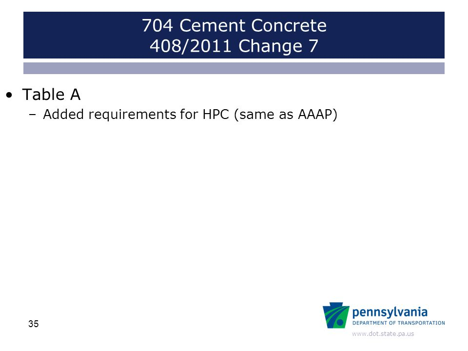 www.dot.state.pa.us Table A –Added requirements for HPC (same as AAAP) 35 704 Cement Concrete 408/2011 Change 7