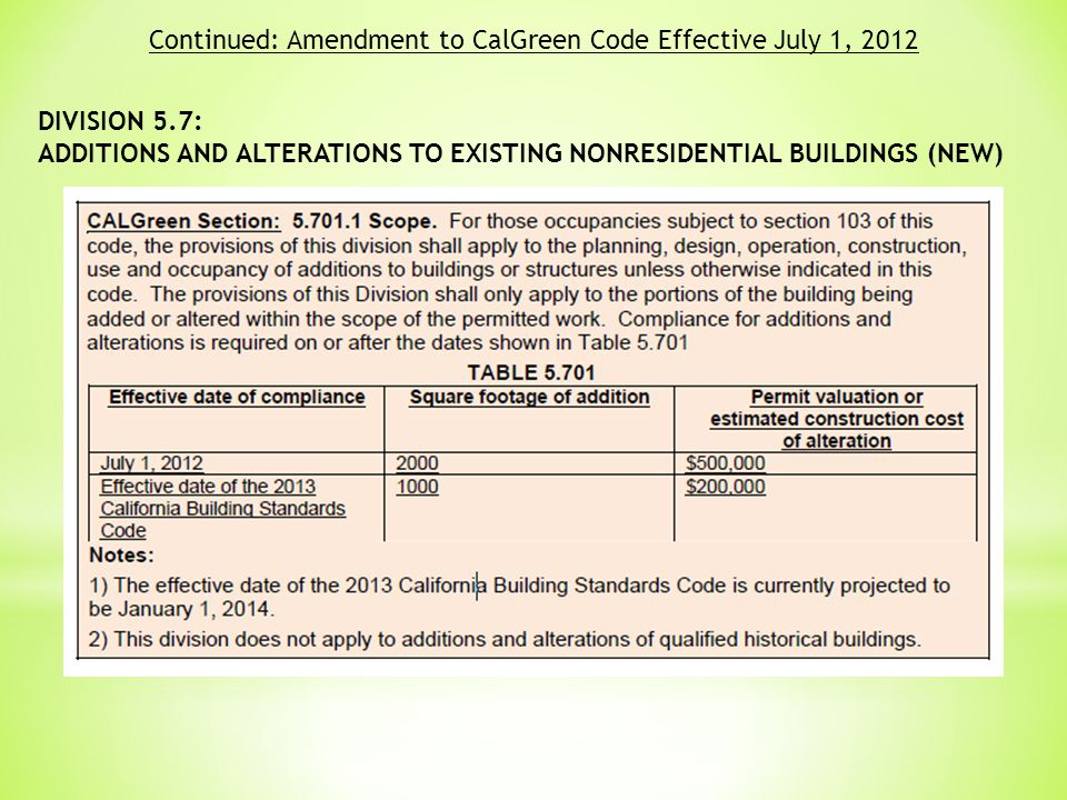 DIVISION 5.7: ADDITIONS AND ALTERATIONS TO EXISTING NONRESIDENTIAL BUILDINGS (NEW) Continued: Amendment to CalGreen Code Effective July 1, 2012