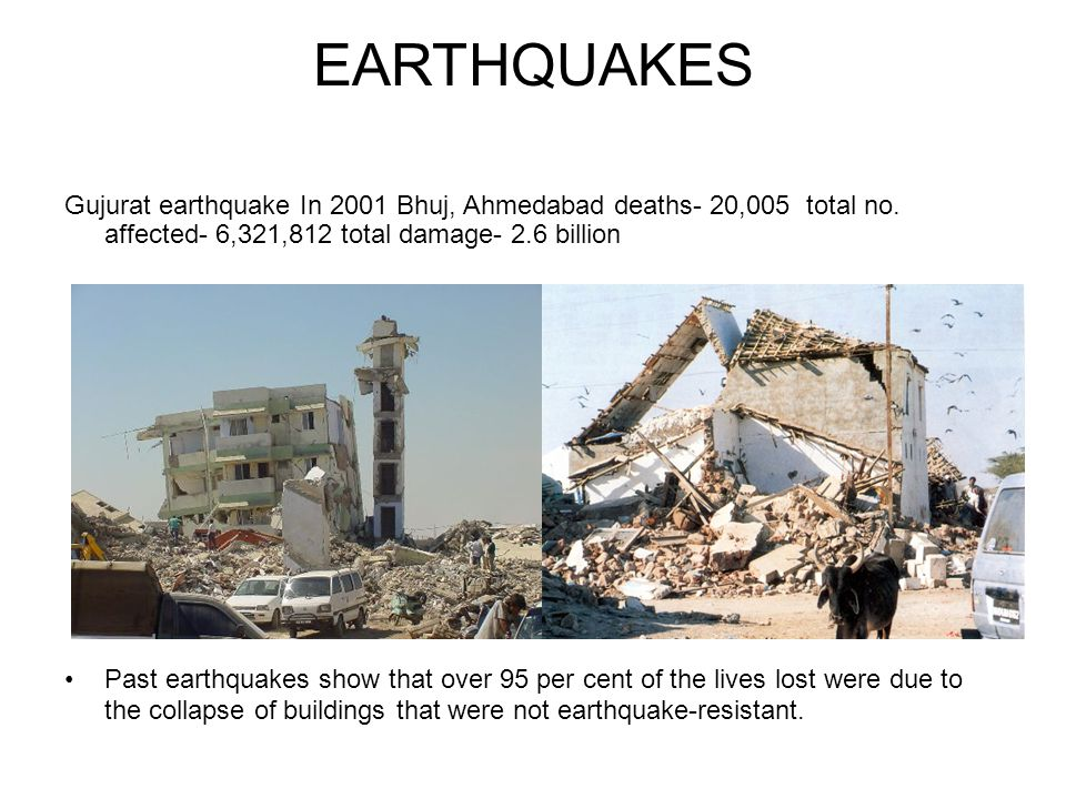 EARTHQUAKES Gujurat earthquake In 2001 Bhuj, Ahmedabad deaths- 20,005 total no.