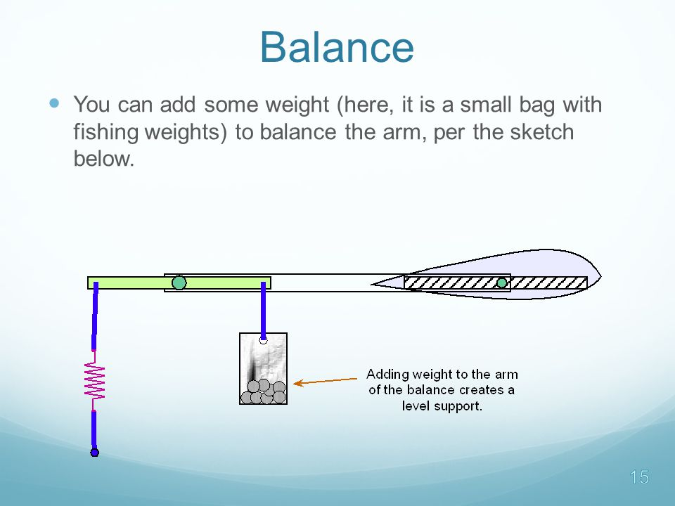 Balance You can add some weight (here, it is a small bag with fishing weights) to balance the arm, per the sketch below.