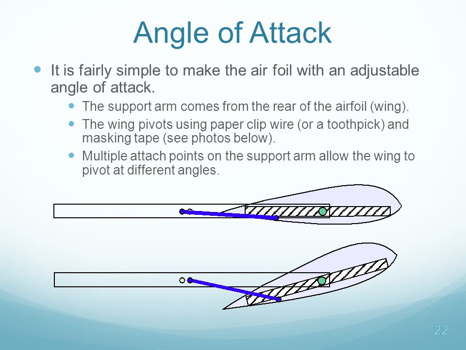 Angle of Attack It is fairly simple to make the air foil with an adjustable angle of attack.