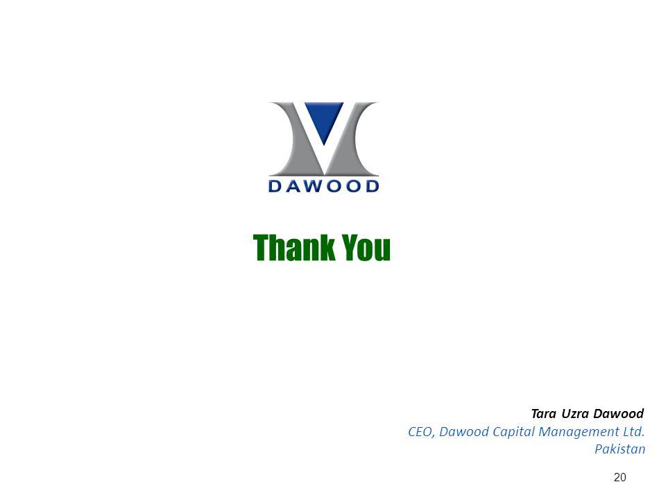 Thank You 20 Tara Uzra Dawood CEO, Dawood Capital Management Ltd. Pakistan