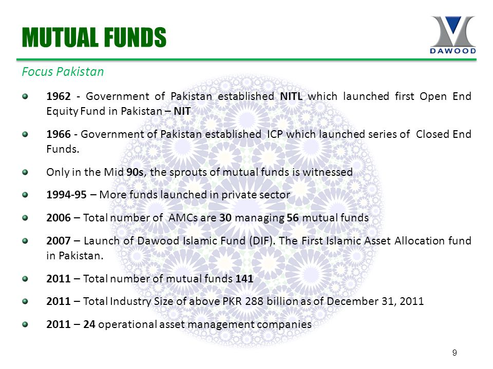 9 1962 - Government of Pakistan established NITL which launched first Open End Equity Fund in Pakistan – NIT 1966 - Government of Pakistan established ICP which launched series of Closed End Funds.