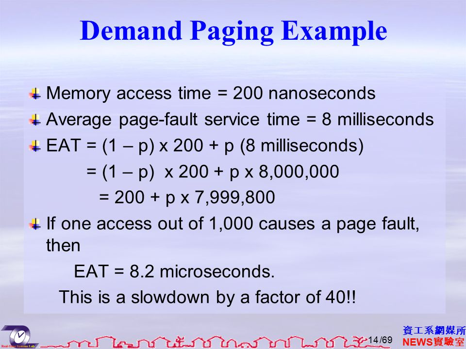 資工系網媒所 NEWS 實驗室 Demand Paging Example Memory access time = 200 nanoseconds Average page-fault service time = 8 milliseconds EAT = (1 – p) x 200 + p (8 milliseconds) = (1 – p) x 200 + p x 8,000,000 = 200 + p x 7,999,800 If one access out of 1,000 causes a page fault, then EAT = 8.2 microseconds.