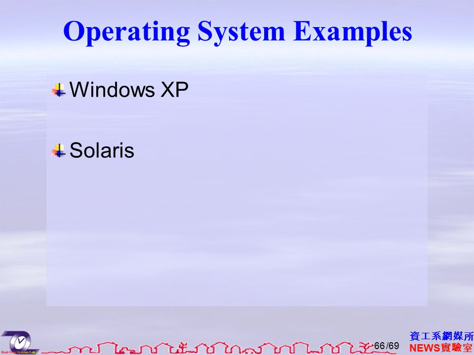 資工系網媒所 NEWS 實驗室 Operating System Examples Windows XP Solaris /6966