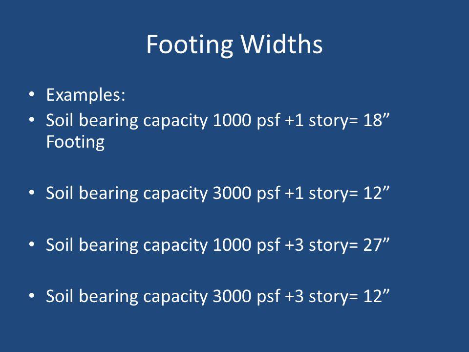 "Footing Widths Examples: Soil bearing capacity 1000 psf +1 story= 18"" Footing Soil bearing capacity 3000 psf +1 story= 12"" Soil bearing capacity 1000"