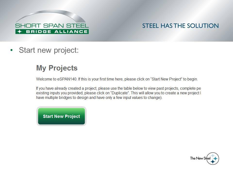 Start new project: