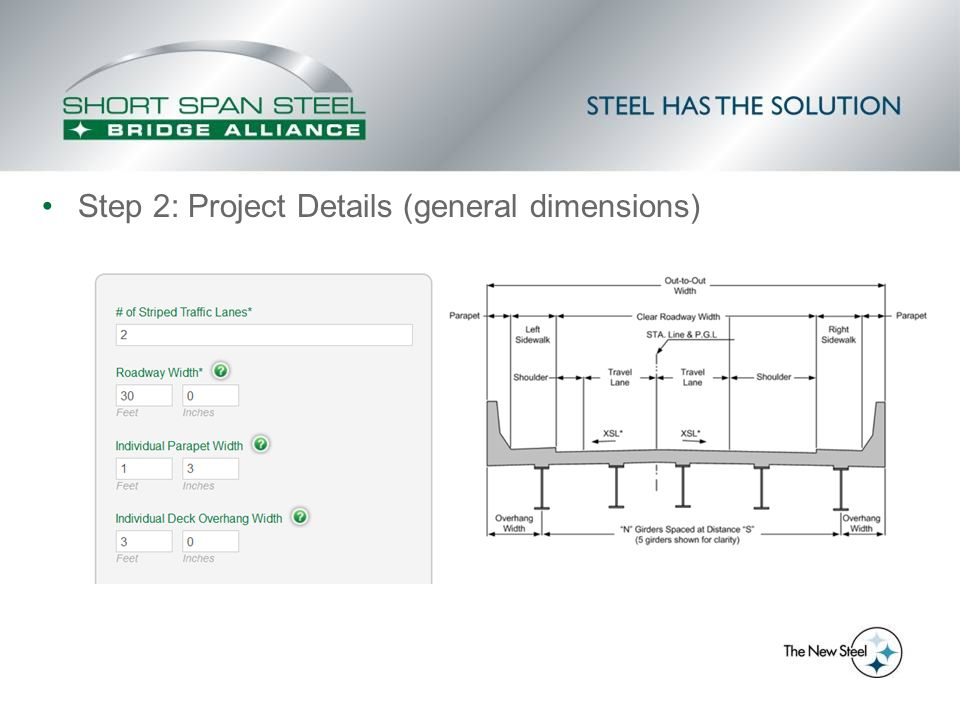 Step 2: Project Details (general dimensions)