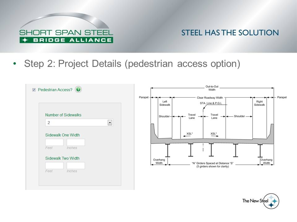Step 2: Project Details (pedestrian access option)