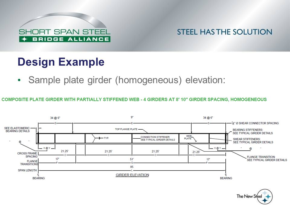 Design Example Sample plate girder (homogeneous) elevation: