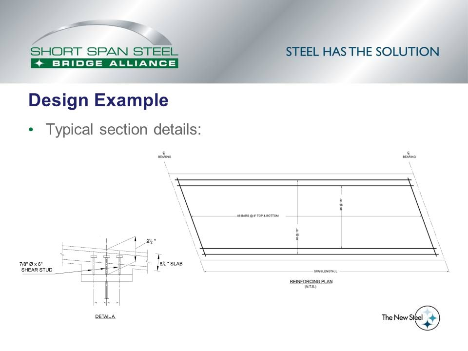 Design Example Typical section details:
