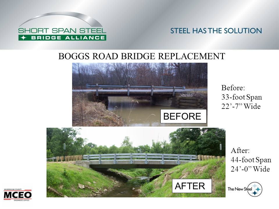 BOGGS ROAD BRIDGE REPLACEMENT AFTER BEFORE Before: 33-foot Span 22'-7 Wide After: 44-foot Span 24'-0 Wide