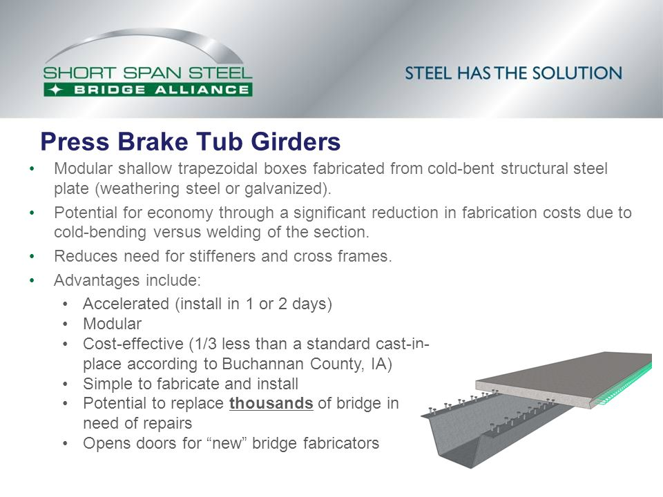 Press Brake Tub Girders Modular shallow trapezoidal boxes fabricated from cold-bent structural steel plate (weathering steel or galvanized). Potential