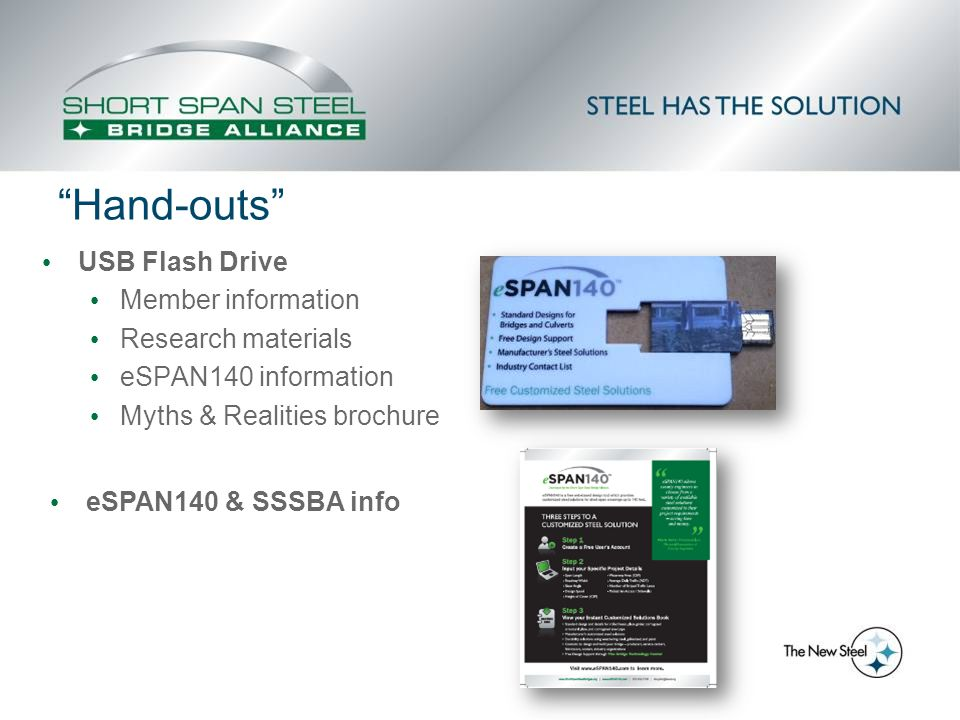 """Hand-outs"" USB Flash Drive Member information Research materials eSPAN140 information Myths & Realities brochure eSPAN140 & SSSBA info"