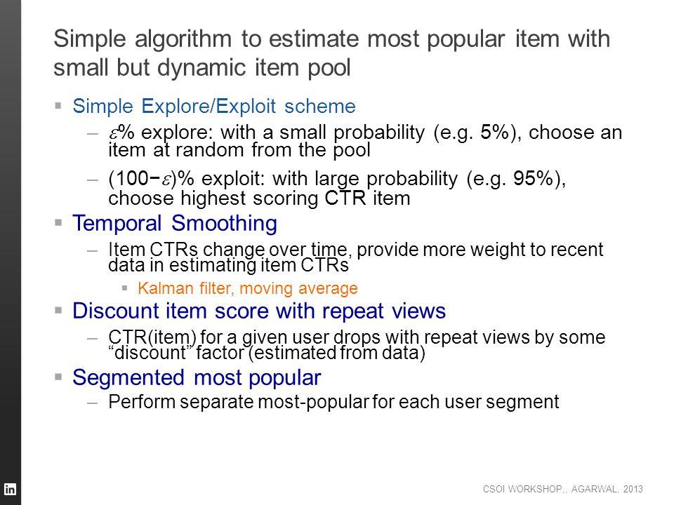 CSOI WORKSHOP,, AGARWAL, 2013 Simple algorithm to estimate most popular item with small but dynamic item pool  Simple Explore/Exploit scheme –  % ex