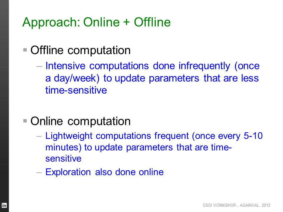 CSOI WORKSHOP,, AGARWAL, 2013 Approach: Online + Offline  Offline computation –Intensive computations done infrequently (once a day/week) to update p