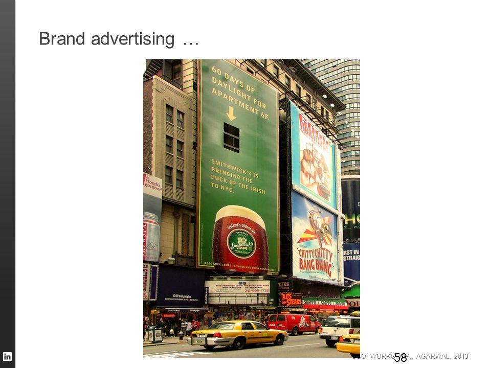 CSOI WORKSHOP,, AGARWAL, 2013 Brand advertising … 58