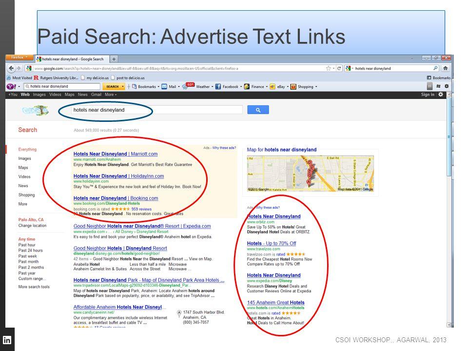 CSOI WORKSHOP,, AGARWAL, 2013 Paid Search: Advertise Text Links