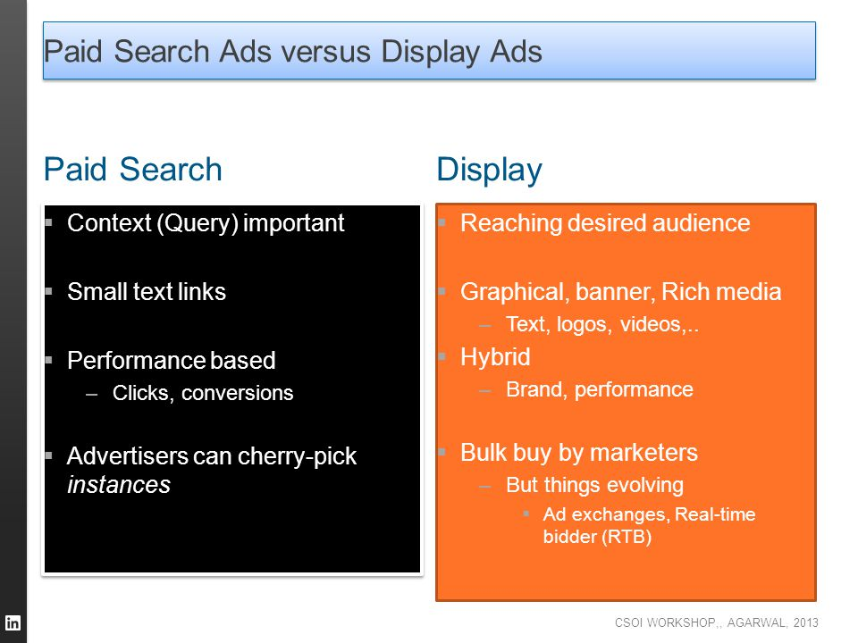 CSOI WORKSHOP,, AGARWAL, 2013 Paid Search Ads versus Display Ads Paid Search  Context (Query) important  Small text links  Performance based –Click