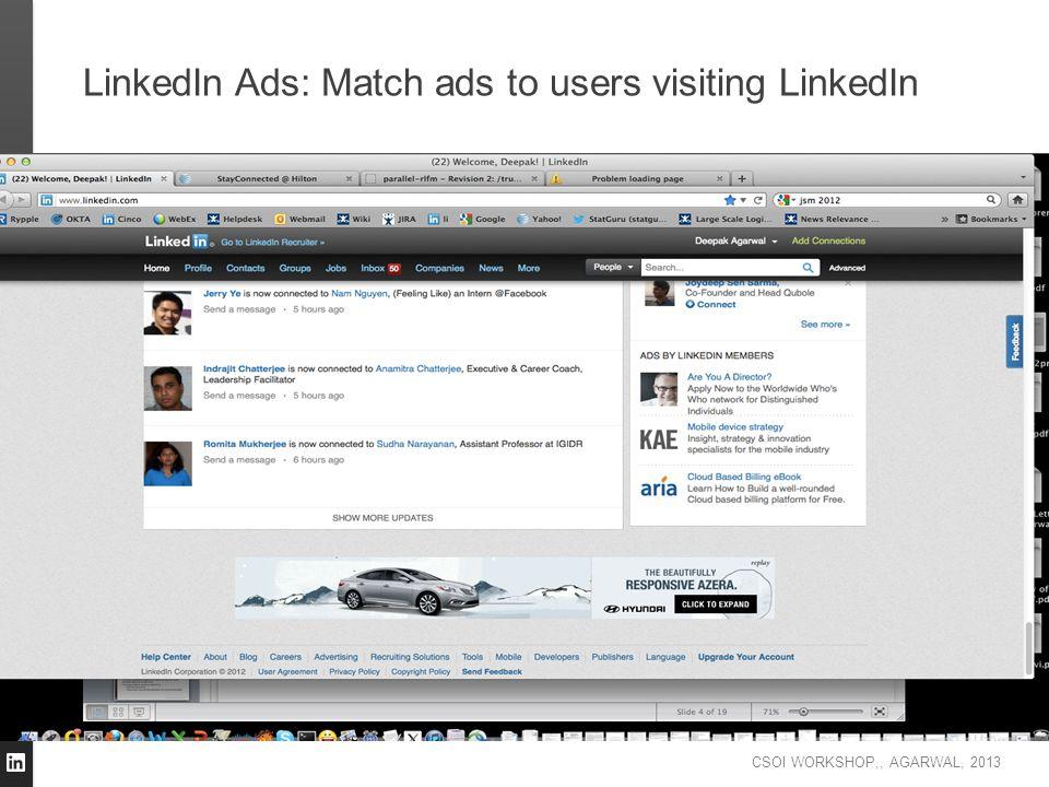 CSOI WORKSHOP,, AGARWAL, 2013 LinkedIn Ads: Match ads to users visiting LinkedIn