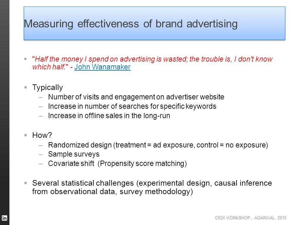 CSOI WORKSHOP,, AGARWAL, 2013 Measuring effectiveness of brand advertising 