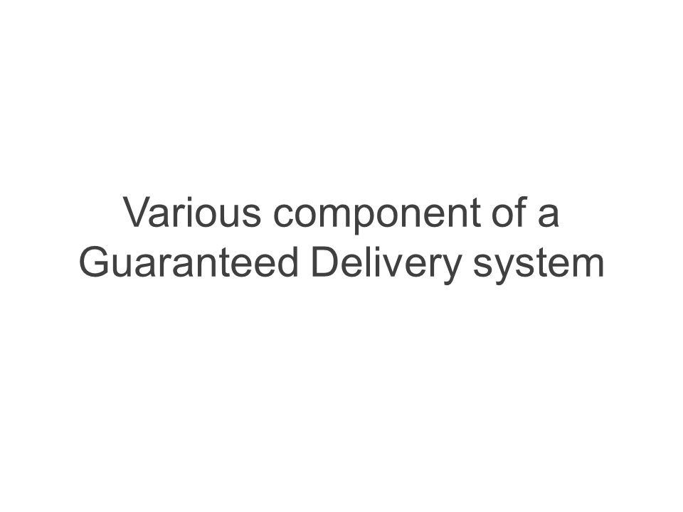 Various component of a Guaranteed Delivery system