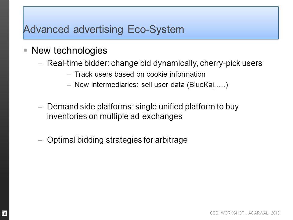 CSOI WORKSHOP,, AGARWAL, 2013 Advanced advertising Eco-System  New technologies –Real-time bidder: change bid dynamically, cherry-pick users –Track u