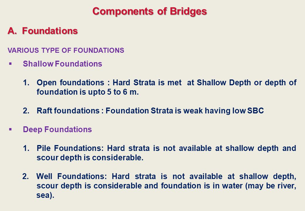 VARIOUS TYPE OF FOUNDATIONS A.Foundations  Shallow Foundations 1.Open foundations : Hard Strata is met at Shallow Depth or depth of foundation is upt