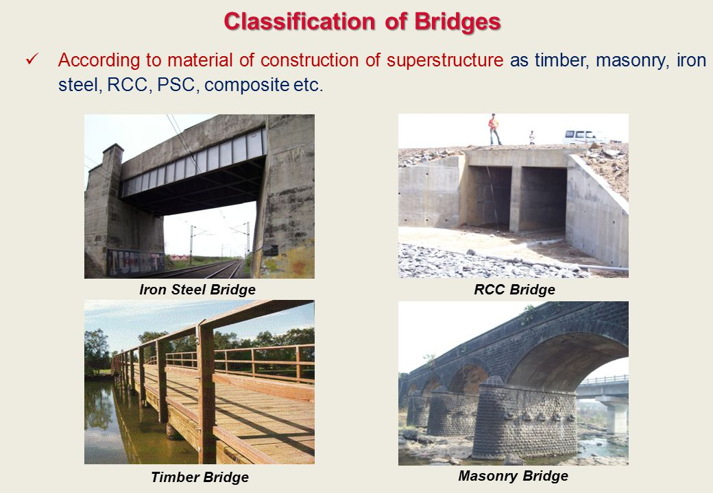 Classification of Bridges According to material of construction of superstructure as timber, masonry, iron steel, RCC, PSC, composite etc. Iron Steel