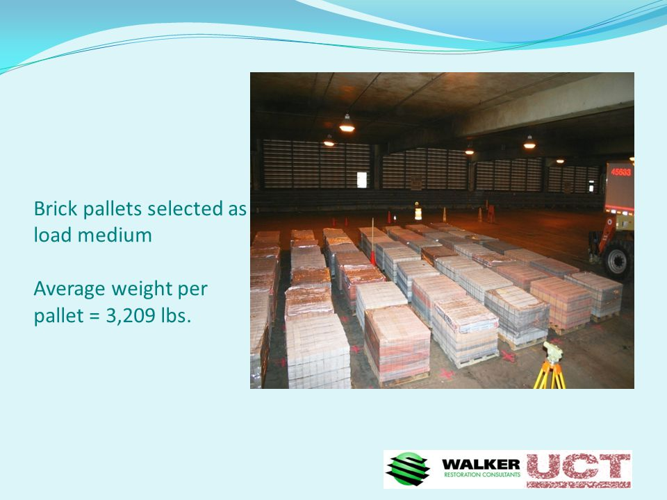 Brick pallets selected as load medium Average weight per pallet = 3,209 lbs.