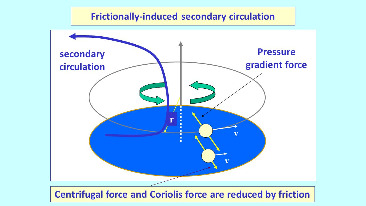r v Pressure gradient force Centrifugal force and Coriolis force are reduced by friction v secondary circulation Frictionally-induced secondary circulation