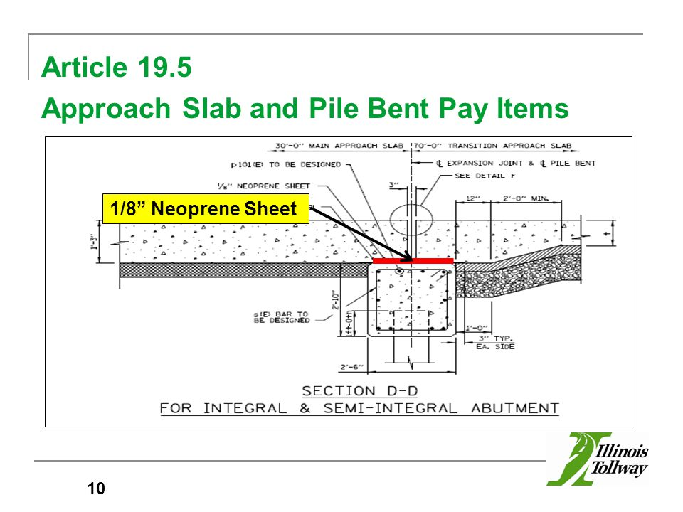 Article 19.5 Approach Slab and Pile Bent Pay Items 10 1/8 Neoprene Sheet