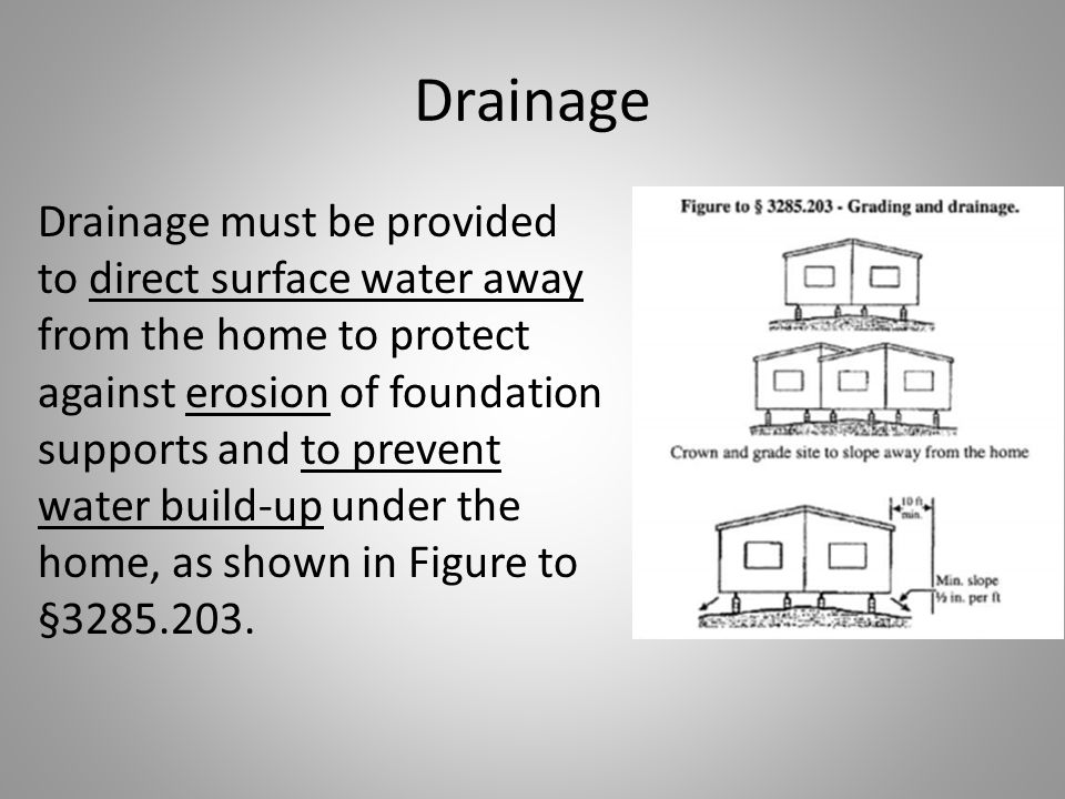 Drainage Drainage must be provided to direct surface water away from the home to protect against erosion of foundation supports and to prevent water build-up under the home, as shown in Figure to §3285.203.