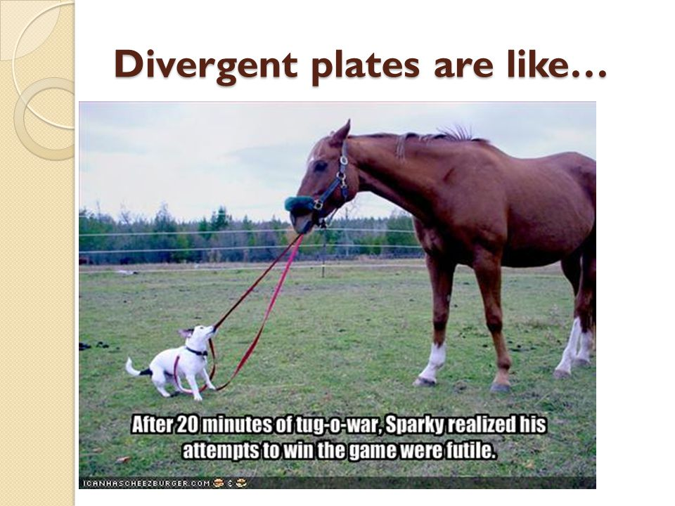 Divergent plates are like…