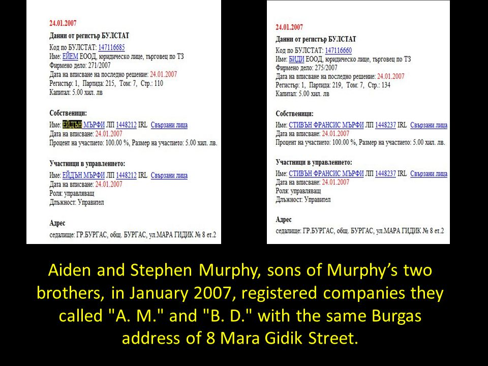 Aiden and Stephen Murphy, sons of Murphy's two brothers, in January 2007, registered companies they called